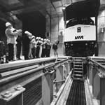 On june 12, 1987, the first train to roll into the new Montreal Maintenance Centre receives a VIP welcome