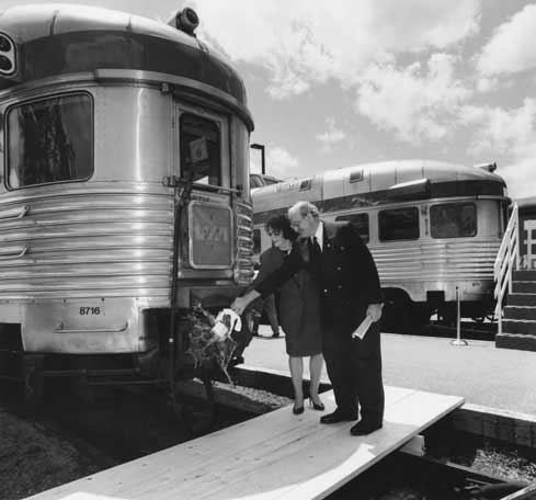 On june 2, 1993. Mrs Christena Keon Sirsly and MP Howard Crosby christening the train the Ocean